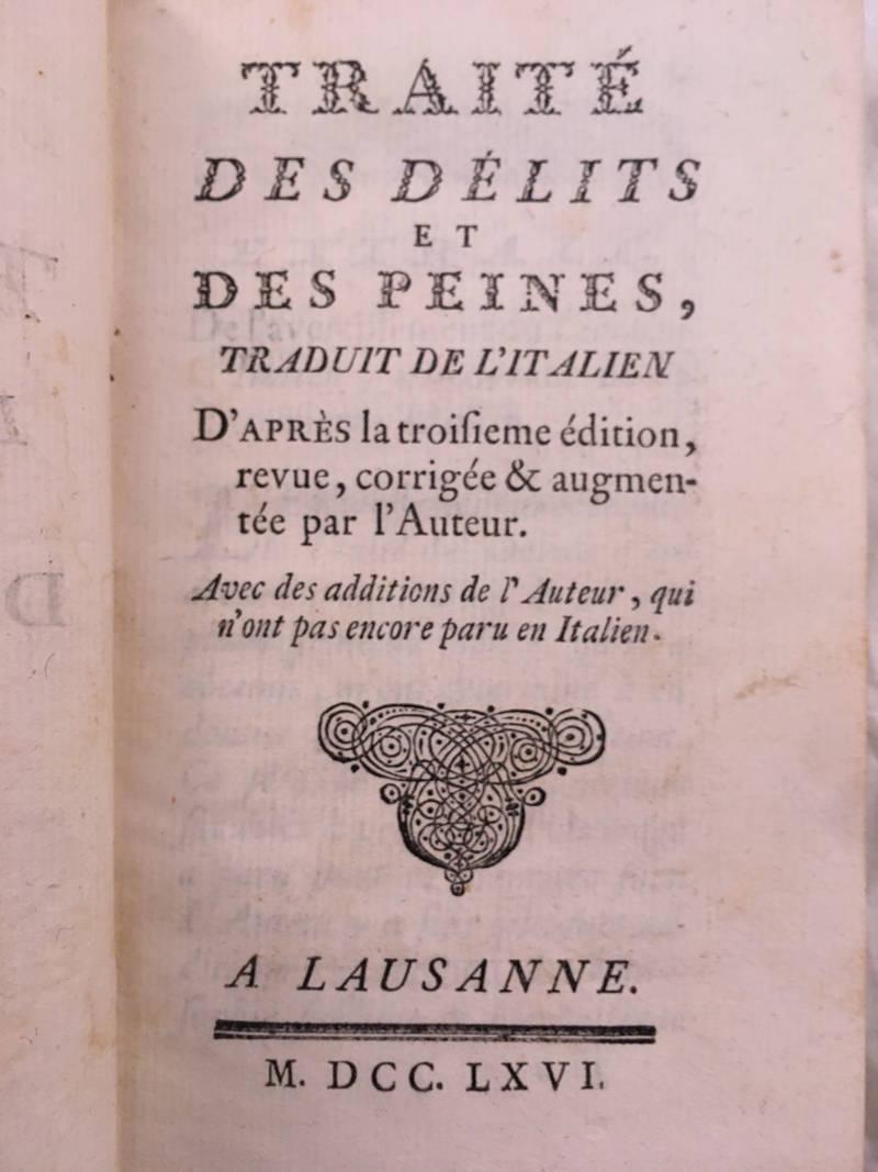 Traité des délits et des peines, traduit de l'italien.
