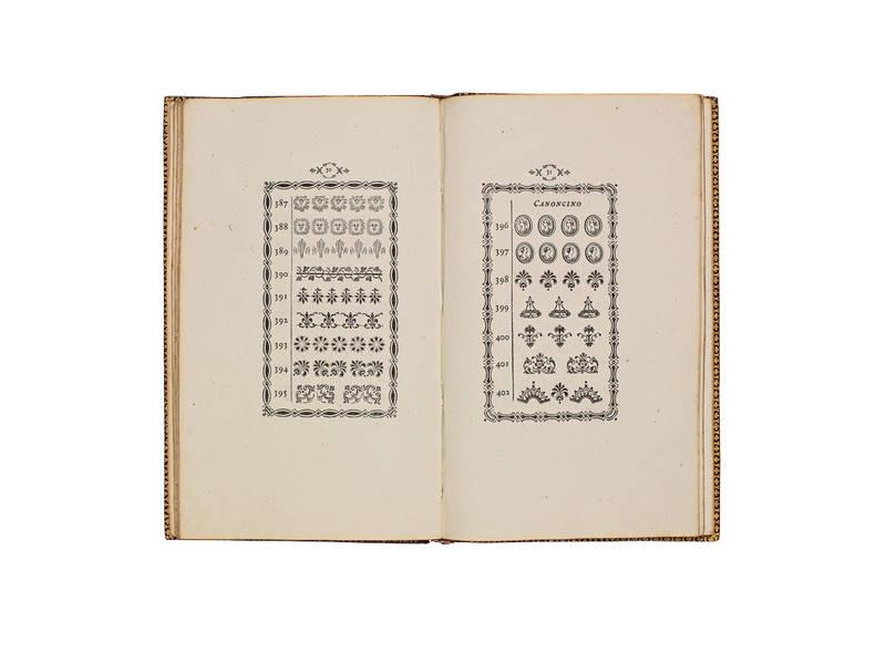 Fregi e Majuscole incise e fuse da Giambattista Bodoni direttore della Stamperia Reale